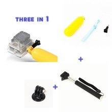 For Go Professional Equipment Package Stick Monopod + Floating Bobber + adapter For Gopro Hero4 session three+SJCAM SJ5000 SJ6000 equipment