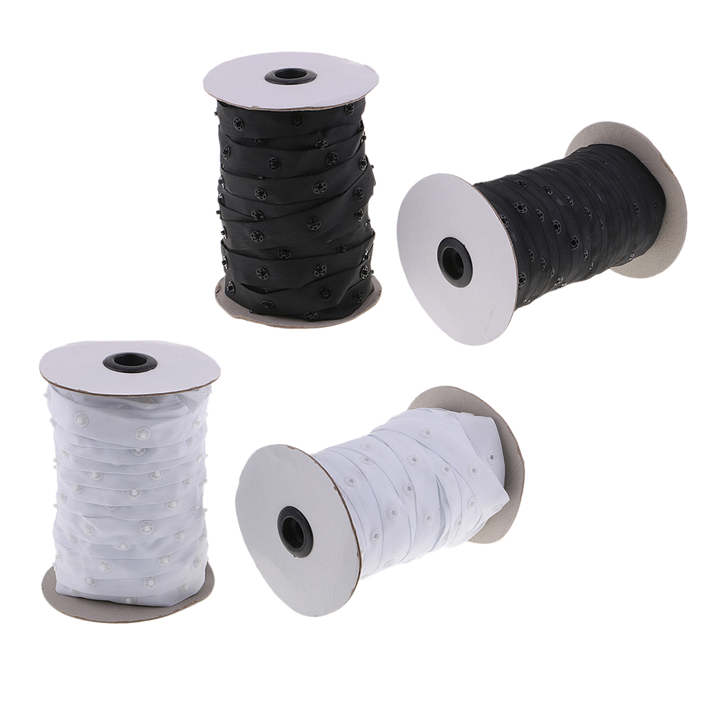 50 Yards 18mm Popper Snap Tape Round Buttons Fasteners Replacements Sewing Duvet Cover Cushion Fabric DIY Sewing Craft - Black