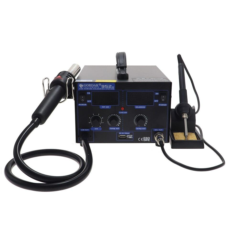 GORDAK 952S 952 Anti-static Hot Air Desoldering Station LED Double Display Soldering Station Hot Air Gun