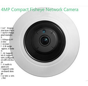 Hikvision DS-2CD2942F-IS 4MP Compact Fisheye Network ip security Camera with Fisheye & PTZ view 4pcs/lot DHL Free Shipping
