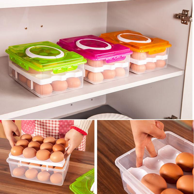 Portable Two Layer Plastic 24 Grid Eggs Food Container Organizer