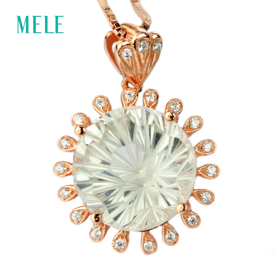 MELE Natural green crystal silver pendant, round 12mm,light green color, firework cutting craftsman, brilliant quality