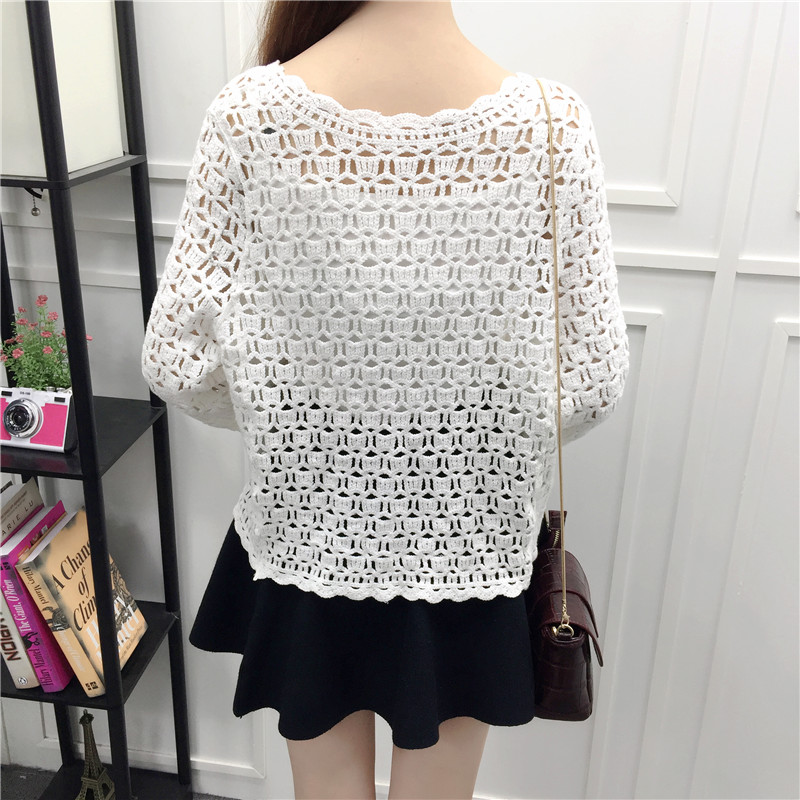 Camisas Mujer 2017 Spring Summer Crochet White Lace Blouse Women Fashion Tops Sexy Hollow Out Knitted Cardigan Chemise Femme 16