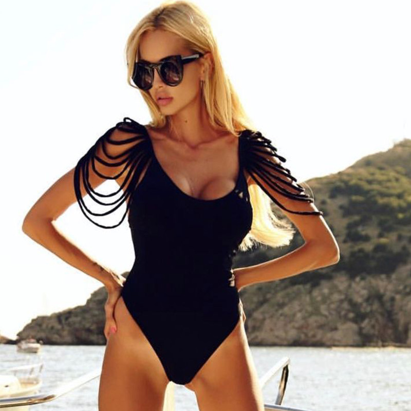 One Piece Swimsuit Women Swimwear 2018 Summer Sexy Bandage Vintage Bathing Suit Backless Monokini Bodysuit Beach Wear Swim 1
