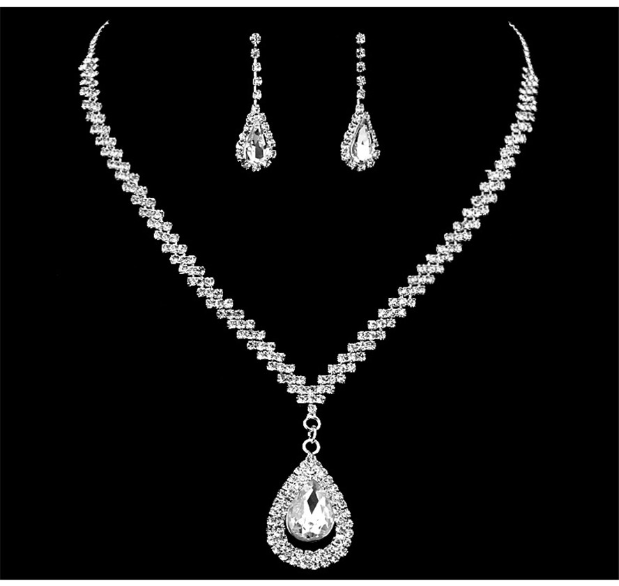 Rhinestone jewelry set with earring necklace set accessories party elegant jewellery sets for women jewelery wedding bridal 2018