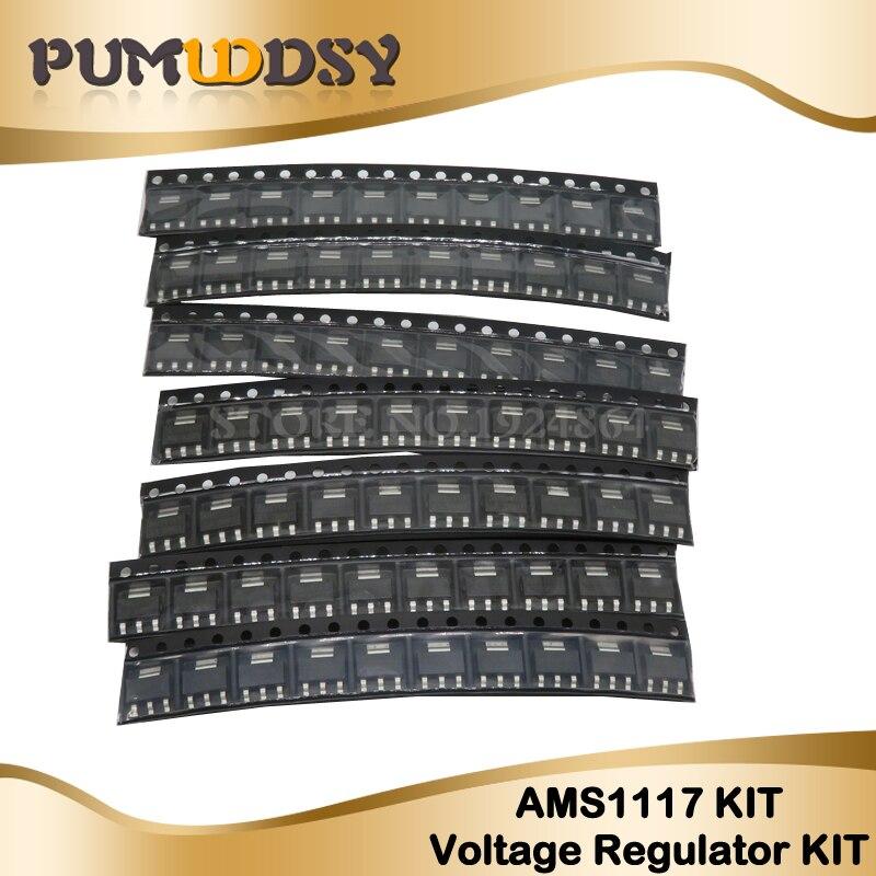 70 шт. AMS1117 регулятор напряжения комплект 1,2 в/1,5 В/1,8 в/2,5 в/3,3 В/5,0 в/ADJ 1117 SOT-223 7 значений каждый 10 шт