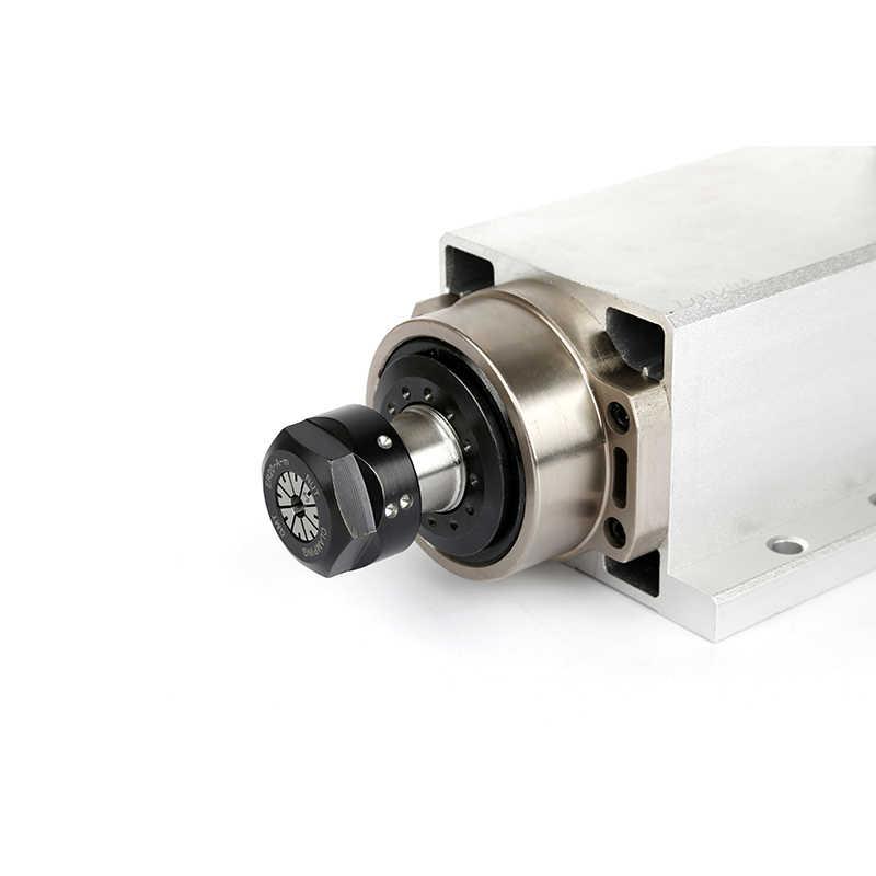 CNC 2.2KW 220V 380V 24000 vòng/phút làm mát bằng Không Khí Vuông Động Cơ Trục Chính ER20 Runout-off 0.002mm cho phay CNC có Đầu Cắm/Cáp Hộp Phiên Bản