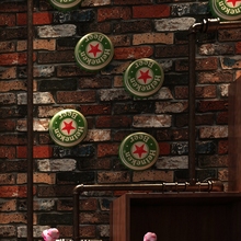 PAYSOTA Chinese Style Retro 3D Brick Wallpaper Bar Coffee Restaurant Red Wall Paper Roll