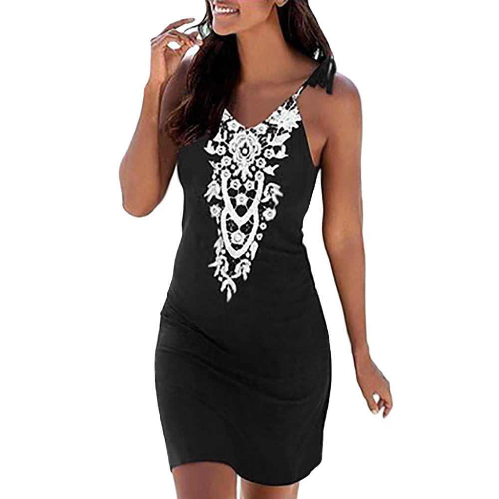 Женское кружевное платье без рукавов с v образным вырезом Boho повседневное мини