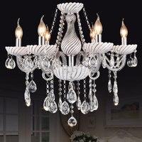 Longree Elegancki styl Europejski kryształowy żyrandol oświetlenie części tabeli świeca żyrandol białe szkło żyrandol w stylu art deco