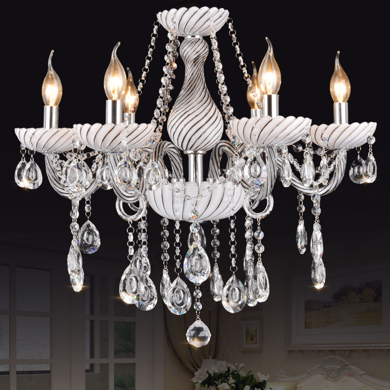 Longree Elegant European style crystal chandelier lighting spare parts table candle chandelier white glass chandelier art deco