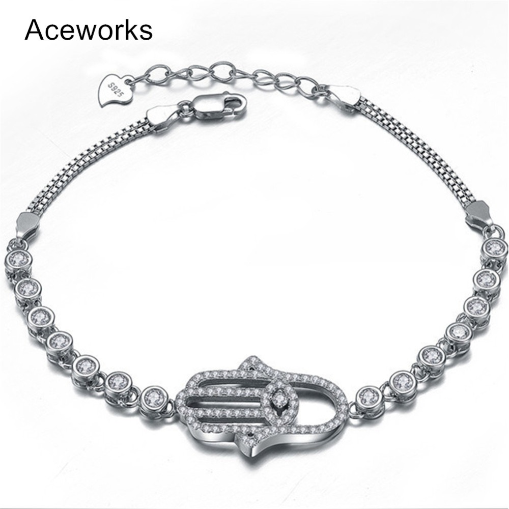 Aceworks Fatima Hand Hamsa Infinity 100% 925 Sterling Silver Bracelets Bangles Women Good Luck Gift Jewelry Turkish Evil Eye