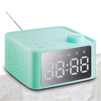Multifunctional Stereo Bluetooth Speaker with Alarm Clock Time Display FM Radio for Home Office 2019