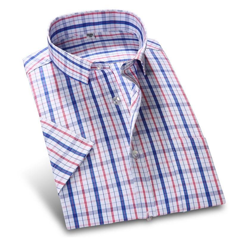 New Arrive plaid Shirts Men's Short Sleeve Shirt casual 2017 Men's Dress Shirts Slim Fit Business Solid Tops Social Shirt M-4XL