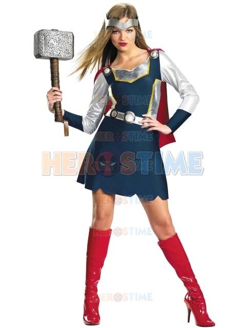 80ba22688da7 Comics Thor Femminile di Stile Del Vestito Blu Spandex Superhero Costume  Con Capo Abito Corto Cosplay
