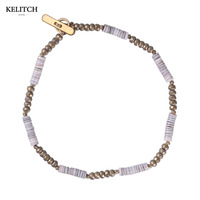 KELITCH Jewelry Newest Natural Shell Beaded Simple Strand Handmade Hematite Stone Elastic Beads Bracelet With Cardboard