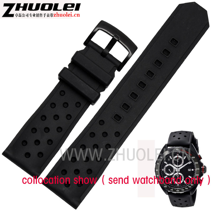 Replacement Watchband 22mm Black silicone bands Breathable and soft  rubber bracelets for TAG Men's watches band watch band 24mm 26mm new men top grade black waterproof rock climbing silicone rubber watchband bands bracelets free shiping