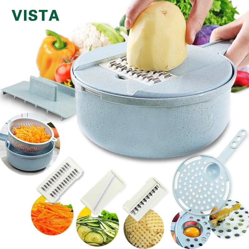 Мандолина Строгальщик для овощей измельчитель для картофеля Овощечистка Лук Терка с фильтром овощерезка 8 в 1 Кухня аксессуары