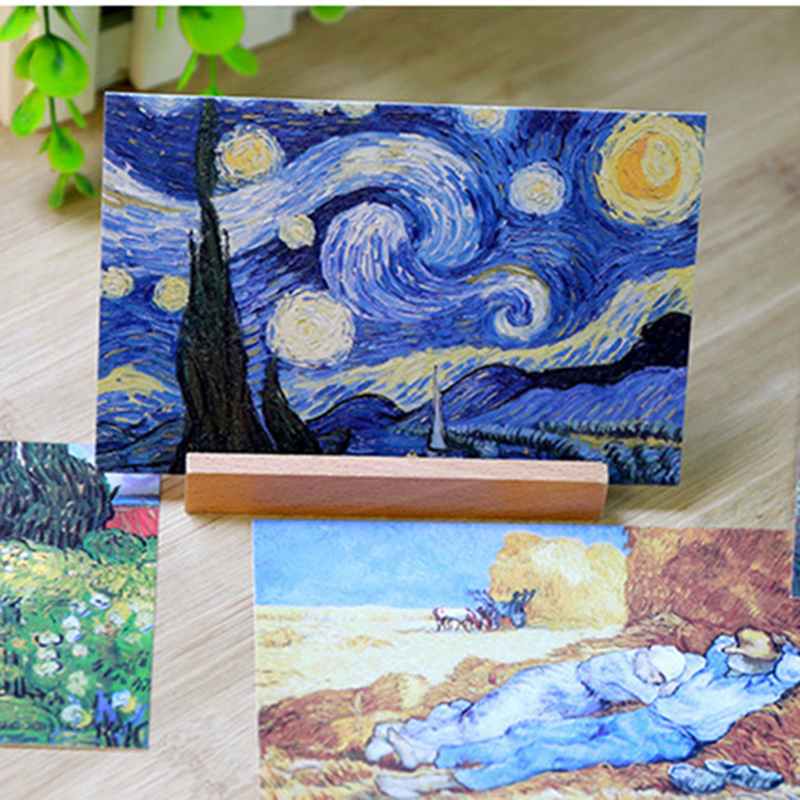 30Pcs/lot Bookmarks Vintage Greeting Wish Card Van Gogh Oil Painting Bookmarks Postcards Fashion Gift Free Shipping