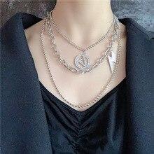 Hiphop/Rock Pendant Necklace Men/women Multi Layer Chain Necklaces Silver Pants Clothing Accessories