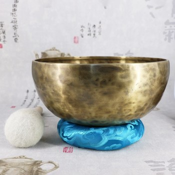 Tibetan Buddism Handmade Copper Large Singing Bowl Bowls with Leather Sticker and Cushion Budismo Nepal 24CM COPPER YOGA BOWL