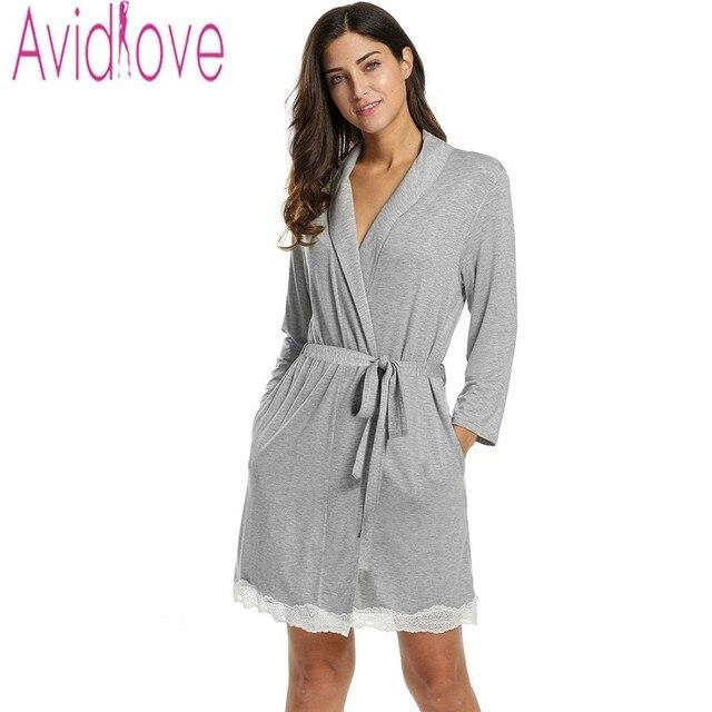 33d9ce7a36 Avidlove Women Sexy Robe Autumn Solid Cotton Nightgown Lace Decor Tunic  Slim Nightwear Knee Length Sleepwear