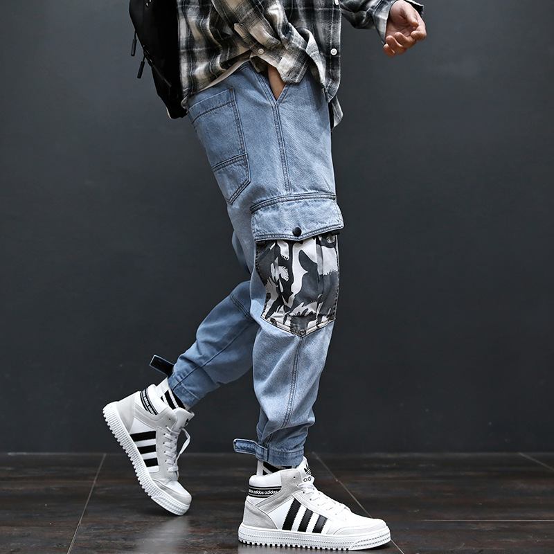 Fashion Streetwear Men Jeans Blue Color Patch Camouflage Pocket Denim Cargo Pants Slack Bottom Spliced Hip Hop Joggers Jeans Men