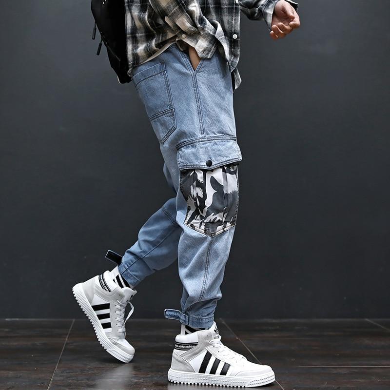 Fashion Streetwear Men Jeans Blue Color Patch Camouflage Pocket Denim Cargo Pants Slack Bottom Spliced Hip Hop Joggers Jeans Men