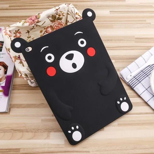 3D Cartoon Kumamon Black Bear Fundas Cover For Ipad 2 3 4 5 6 Air 1 2 Soft Silicon Cases For Ipad Mini 4 3 2 1 Tablet Coque