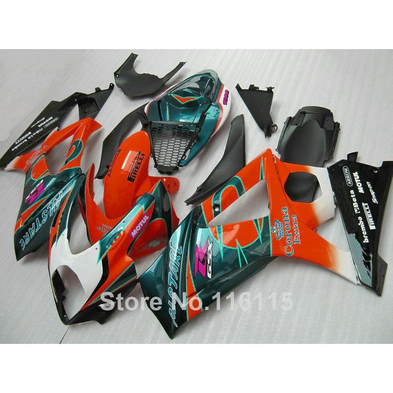ABS Motorcycle parts for SUZUKI GSXR 1000 K7 K8 07 08 fairing kit GSXR1000 2007 2008 orange green Corona fairings set JS66