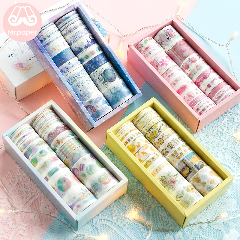 Mr Paper 20pcs/box Gift Package Colorful Rainbow Washi Tapes Set Star Ocean Lemon Flamingo Peach Scrapbooking Masking Tapes