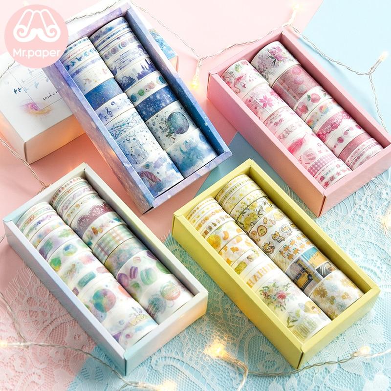 Mr Paper 20pcs/box Gift Package Colorful Rainbow Washi Tapes Set Star Ocean Lemon Flamingo Peach Scrapbooking Masking Tapes