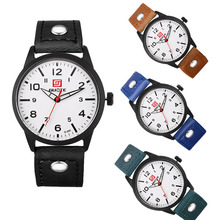 1pc men male business watches wrist clocks Fashion Leather Strap Casual watch quartz wristwatches Sports Military round shape H4