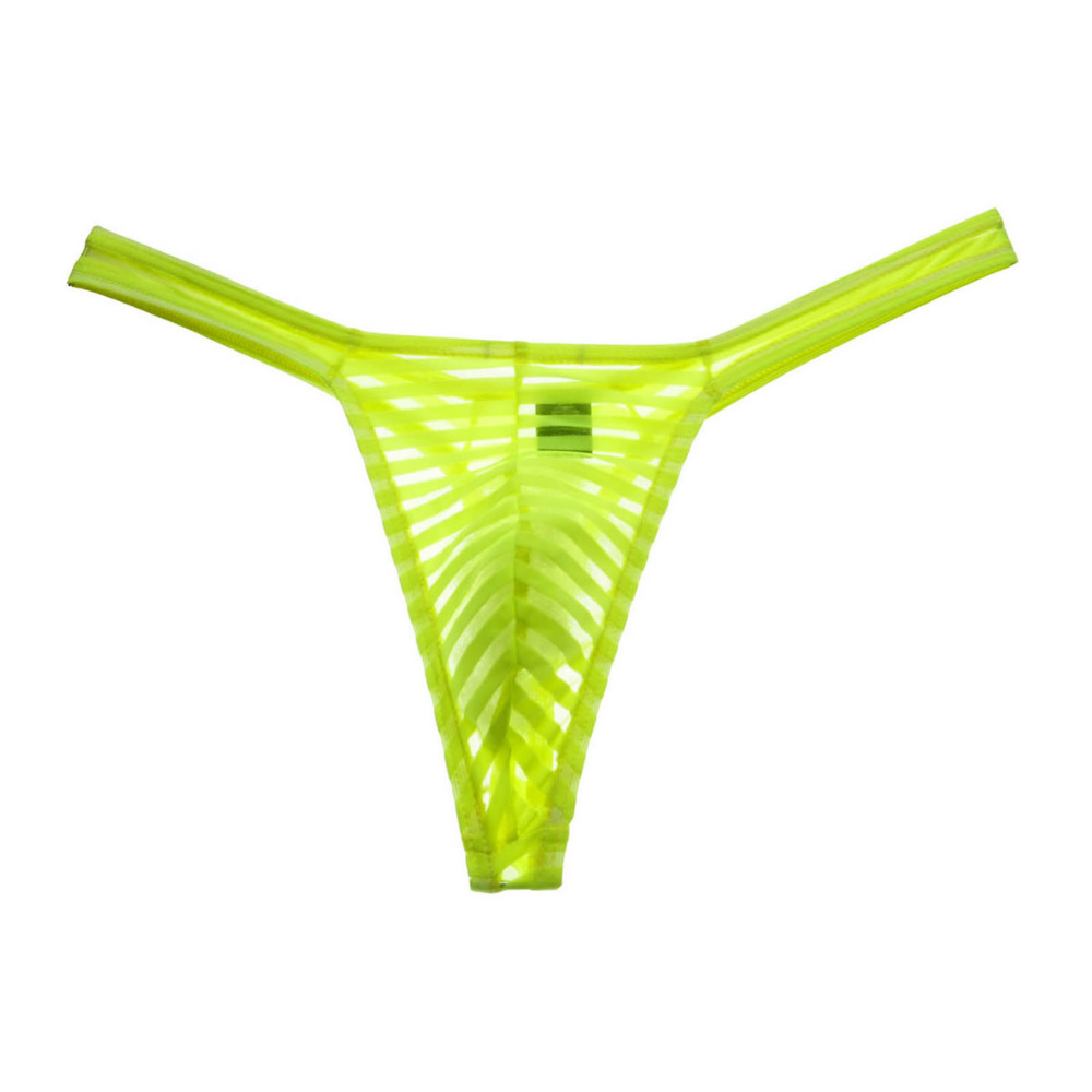 Transparent See-Through Penis Striped Sexy Bikini Thong Mens G-Strings Bluge Pouch Male Thong Underwear Men Tanga Smooth T-back
