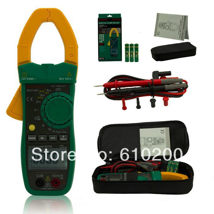 все цены на MASTECH MS2138R 4000 Counts Digital AC/DC Clamp Meter Voltage Current Capacitance Resistance Tester TRUE RMS 1000A Replace F318 в интернете