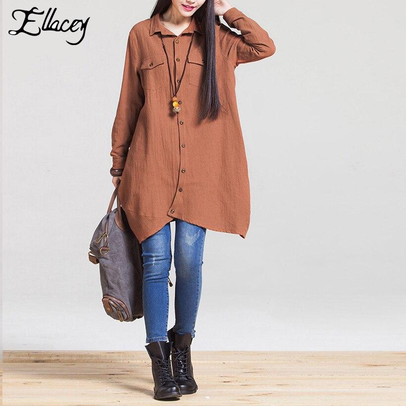2f3548b4 New Arrival 2017 Spring Pocket Linen Shirts Vintage Mori Girl Long Women  Blouses Long Sleeve Loose Shirt Women Tops Plus Size-in Blouses & Shirts  from ...