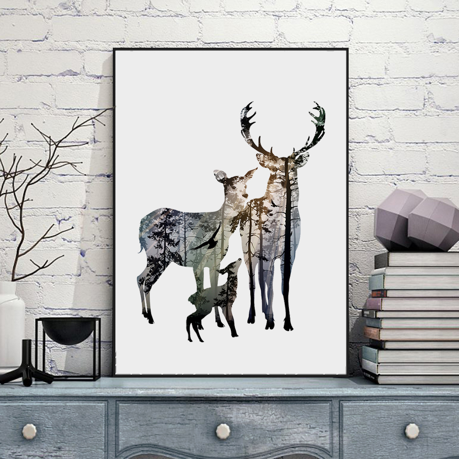 Buy silhouette of deer family with pine for Where to buy canvas art