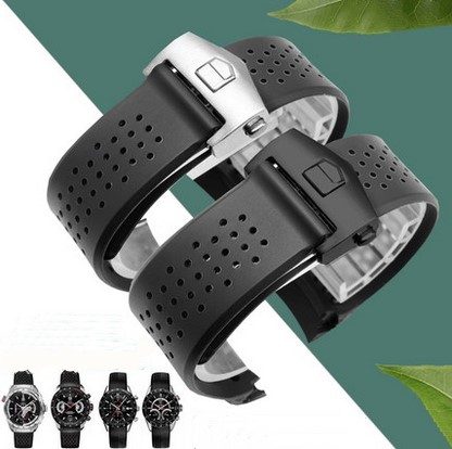 Watchband 22mm 24mm Stainless Steel Deployment Black Diving Silicone Rubber Holes Watch Band Strap For T-A-G WATCH