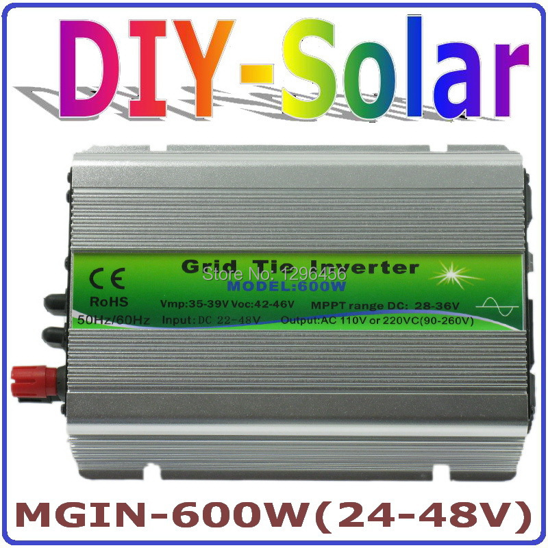solar system 600W Grid Tie Inverter 600W On Grid Inverter, Solar Power Inverter Input DC24V~48V Output AC90V~260V Full Voltage solar power on grid inverter 500w dc 22v 60v ac 230v solar panel system grid tie inverter