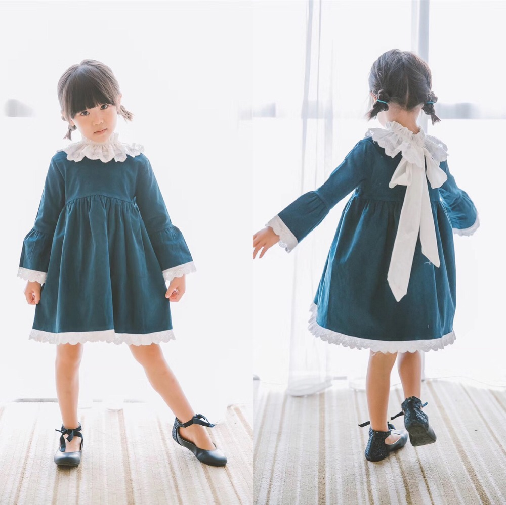 Girls long sleeve dress vintage style fashion baby girls dresses boutique kids clothes hot sale fashion girls denim dress baby soft cotton dresses girls long sleeve flower embroidery dresses kids dress style blouses