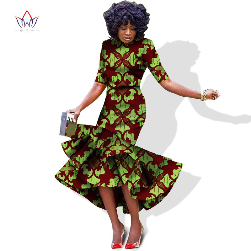 Plus Size 2018 New African Dresses for Women Dashiki Elegant Slim Africa Clothes Bazin Riche Sheath Pleated Party Dress WY1027