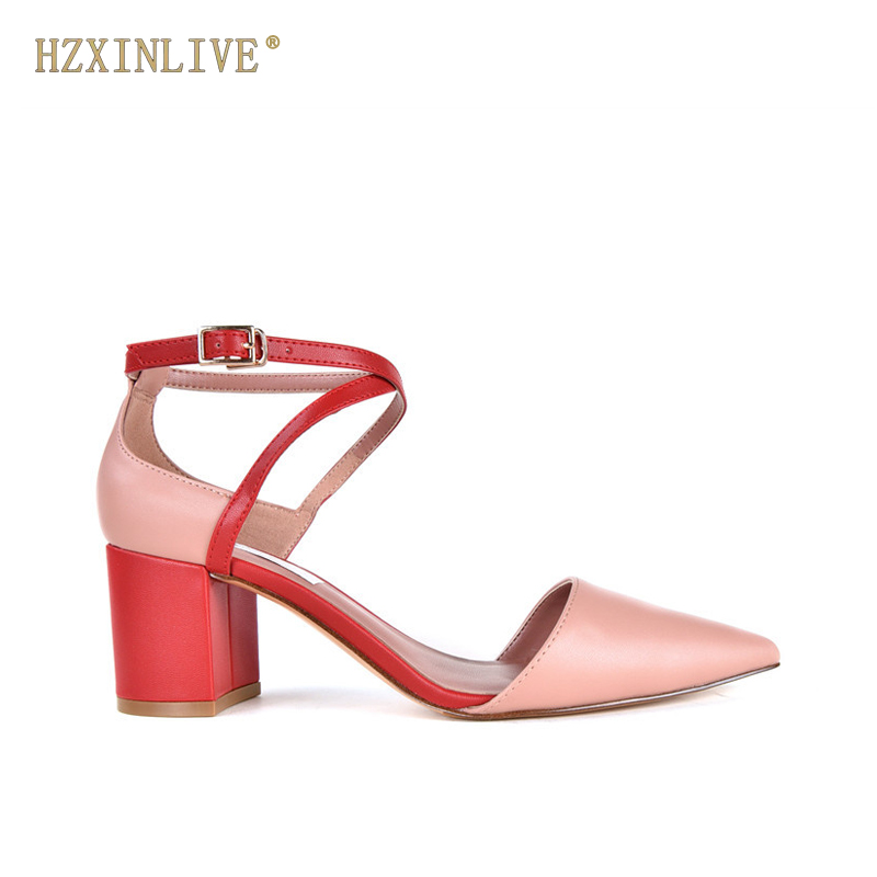 HZXINLIVE 2018 Spring Summer Women Pumps Fashion Ankle Strap Women Sandals Pointed Toe Genuine Leather Heels Sandals Shoes Woman fedonas shoes women thick high heels slingback ankle strap shoes woman genuine leather pointed toe summer sandals women