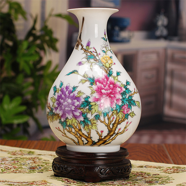 Antique Chinese Porcelain Vase Classical Home Decor Handmade White
