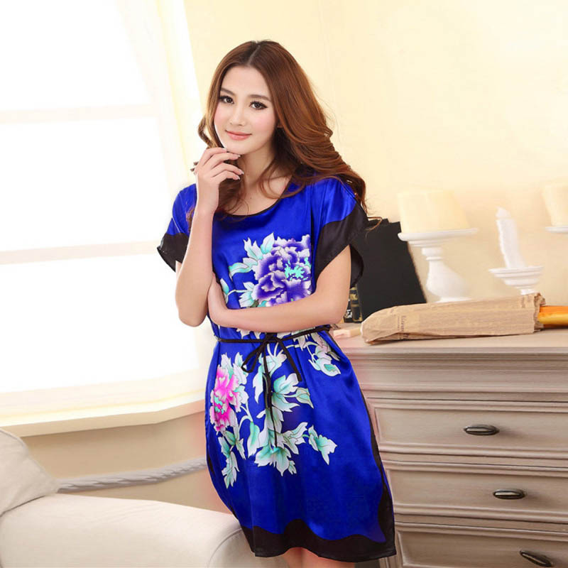 Women Flowers Printed Nightwear Sleepwear Ladies Robes Nightwear Sleep Night Dress Nightgowns T8