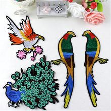 Peacock Bird Embroidered Eagle Patches Iron-on Sewing for Clothes Applique Diy Accessory Suppliers Sticker Lace Neckline collar(China)