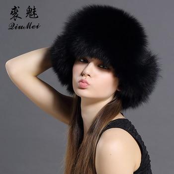 Cazadora Bomber sombreros para las mujeres zorro Real gorras de piel Mujer  moda sombreros ruso genuino Natural Fox de piel de mapache trampero sombrero  de ... 6b78a620365