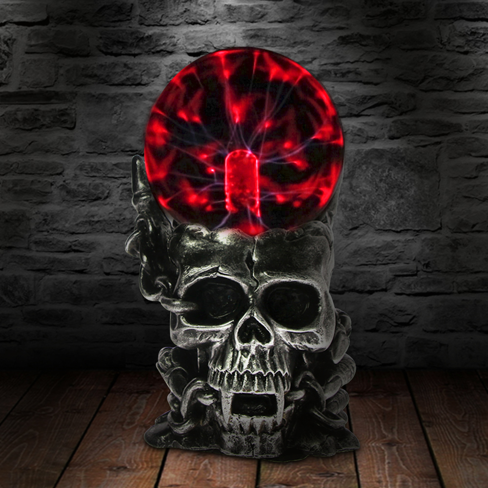 10cm Skull Form Plasma Sphere Nebula Ball Globe Novelty Table Lamp Bedroom Decor Glass Halloween Colorful Night Light