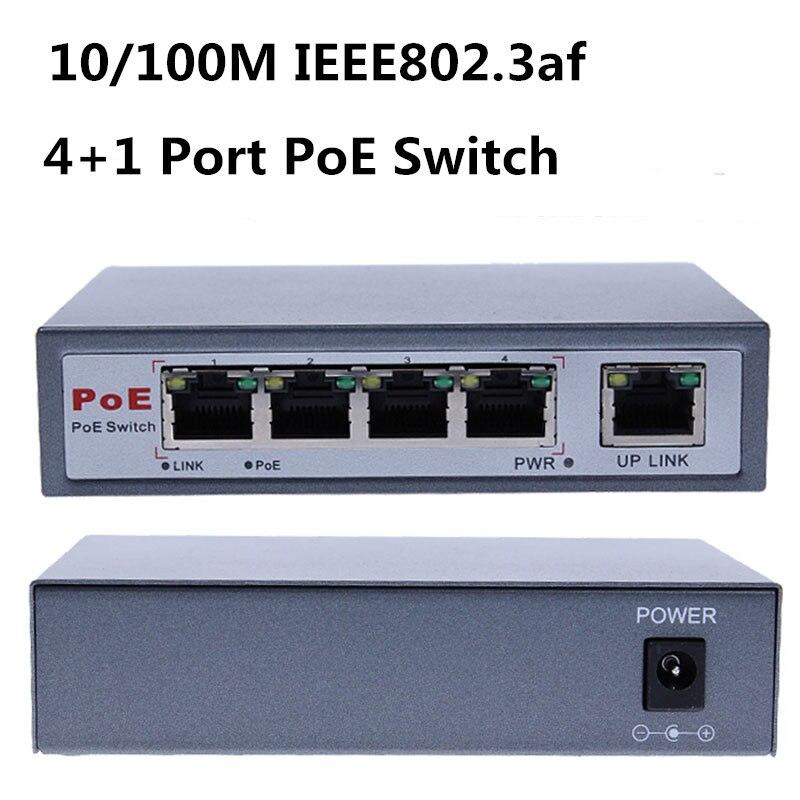 IEEE802.3af 4 ports 10/100 M PoE Net commutateur/Hub puissance sur Ethernet PoE et Transmission optique pour système de caméra IP commutateurs réseau