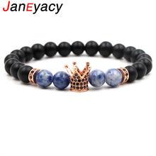 Janeyacy 2018 Новый 8 мм матовый каменный браслет с короной
