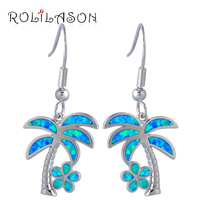 ROLILASON Perfect 925 Sterling Silver Overlay Jewelry Fashion Coconut Tree Blue Opal Drop Dangle Earrings For
